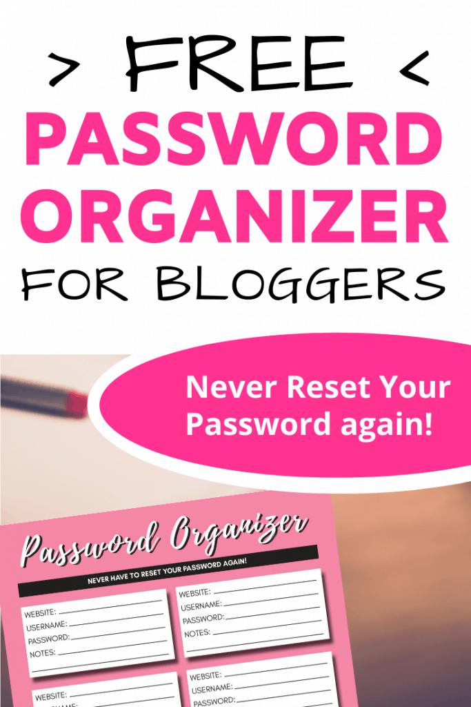 Free Printable Password Organizer ad