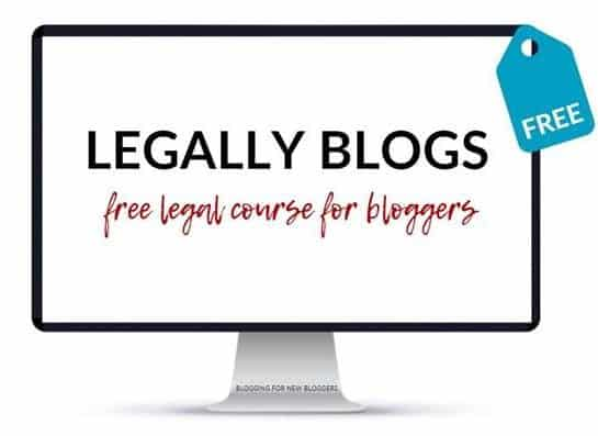 "Computer screen showing ""Legally Blogs - free legal course for bloggers"" course"