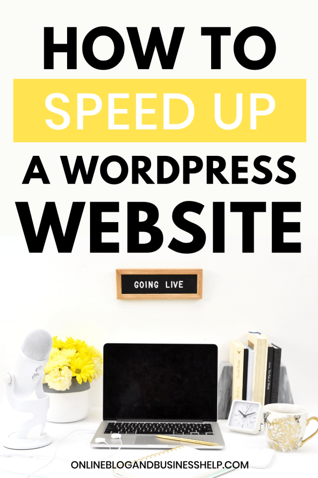 """a laptop computer with yellow flowers next to it with the text """"how to speed up a wordpress website"""""""