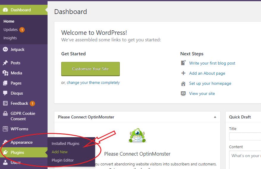 Wordpress Plugins menu image