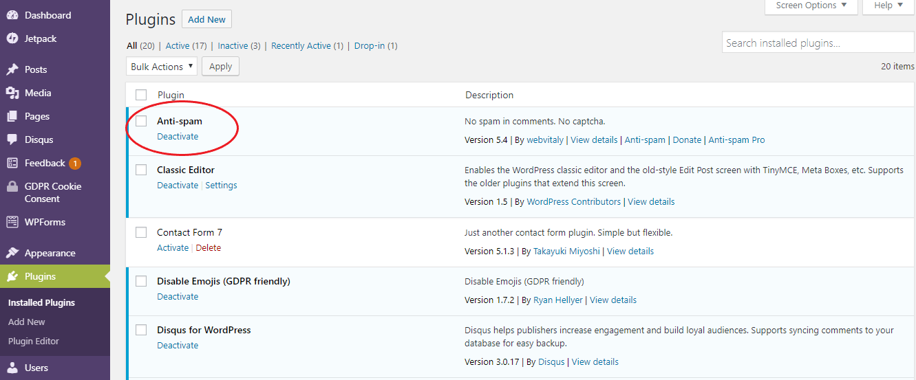 Plugins menu on wordpress dashboard