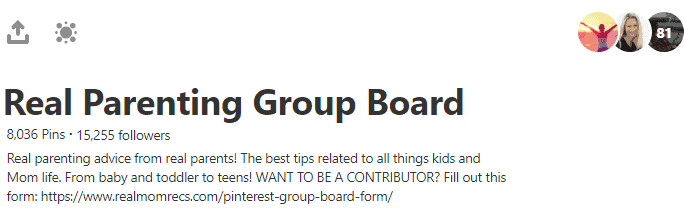Screenshot of group board to send direct message to join