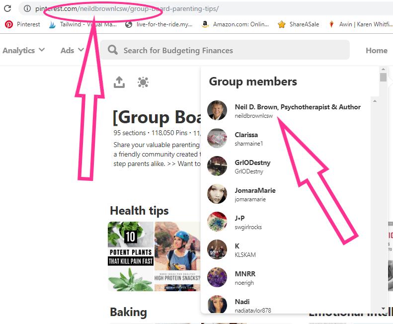 Screenshot of group board owner