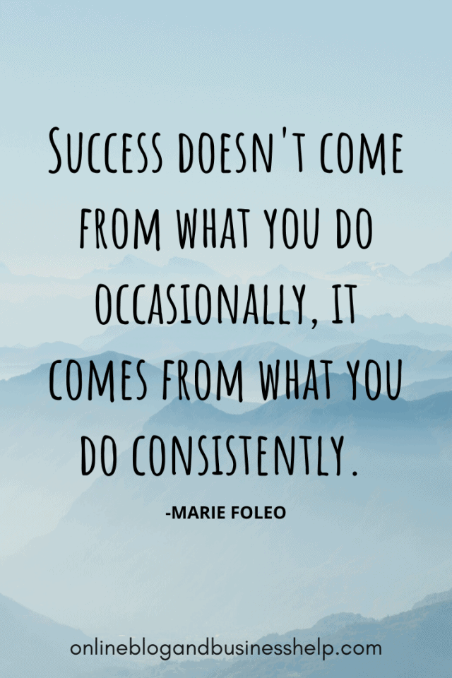 "Quote Image: 'Success doesn't come from what you do occasionally, it comes from what you do consistently."" - Marie Forleo"