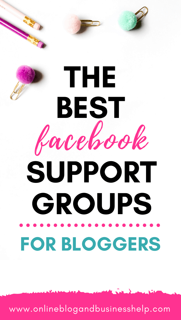 """Pencils and paper clips with the text """"The best facebook support groups for bloggers"""""""