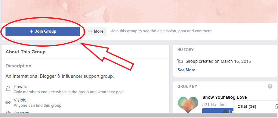 Screenshot of Facebook Group Join button
