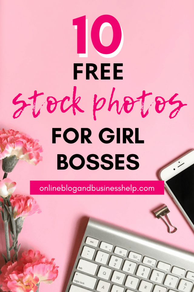 """Feminine office supplies with the text """"10 Free Stock Photos for Girl Bosses"""""""