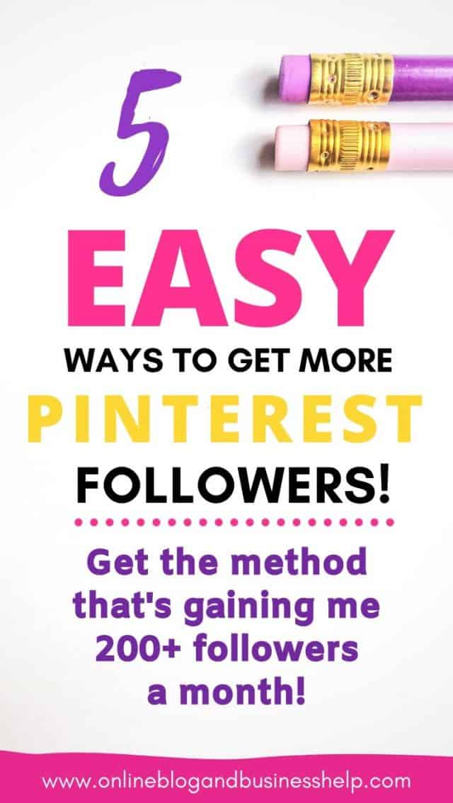 """Colourful text """"5 East Ways to Get More Pinterest Followers"""""""