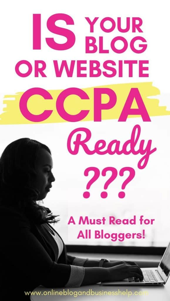 """OvWoman typing on laptop with text above """"Is Your Blog or Website CCPA Compliant?"""""""