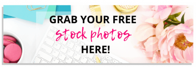 """Flowery button with the text """"Grab your free stock photos Here"""""""