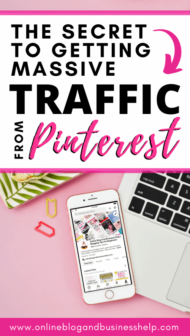 "iPhone on pink background with the text ""The Secret to Getting Massive Traffic From Pinterest"""
