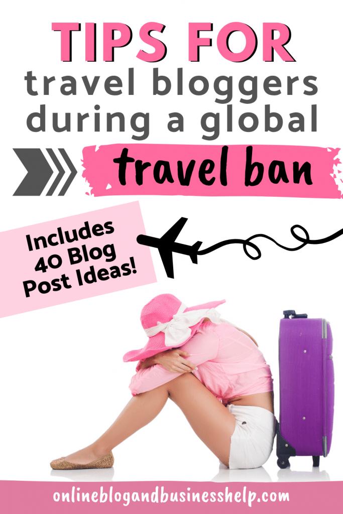 Sad traveller leaning against purple suitcase