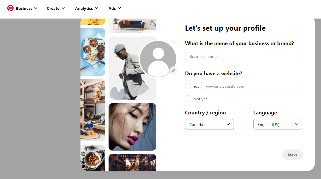 create pinterest profile