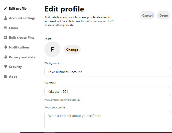 edit pinterest profile