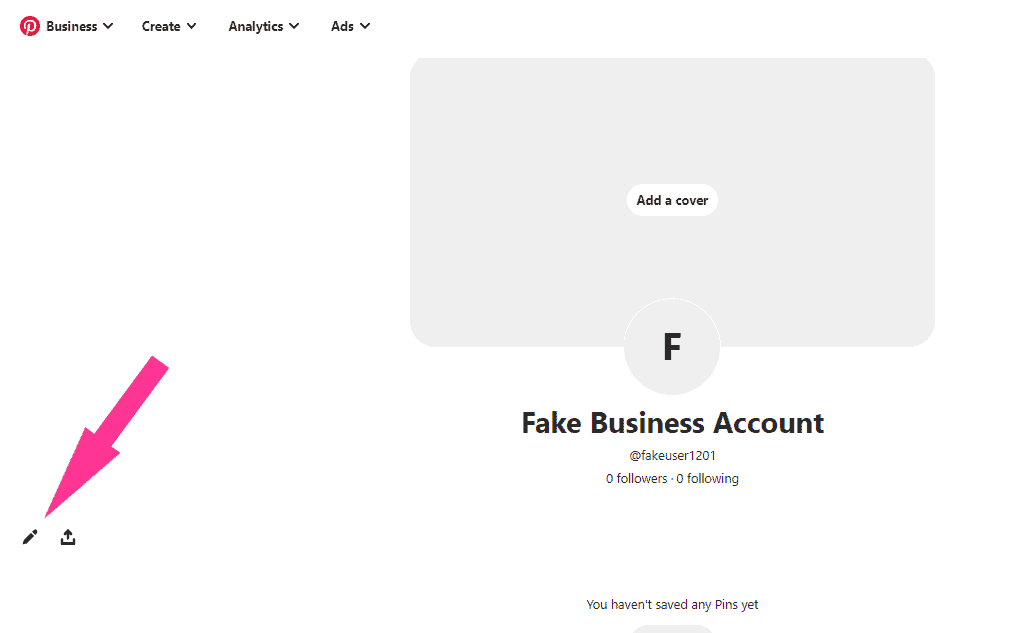 customize pinterest business account profile