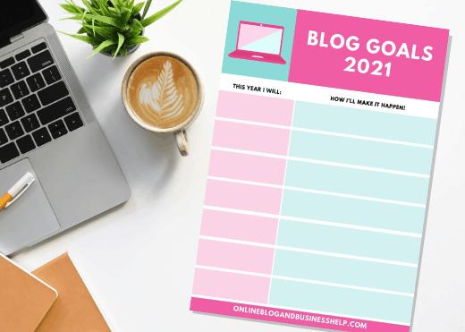 Blog goal sheet printable