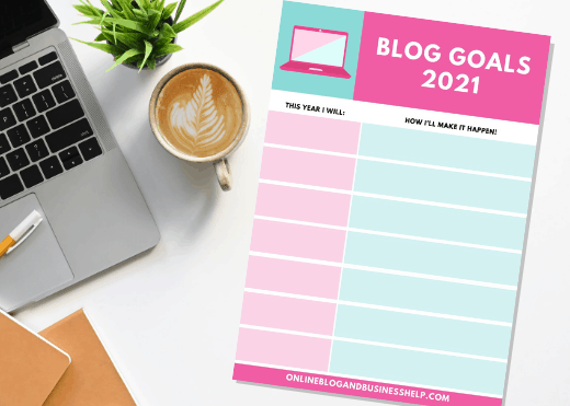 Blog goal sheet printable