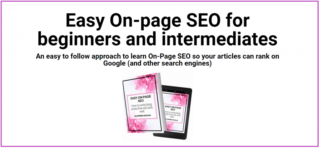 Ad for Easy On Page SEO Blogging Courses