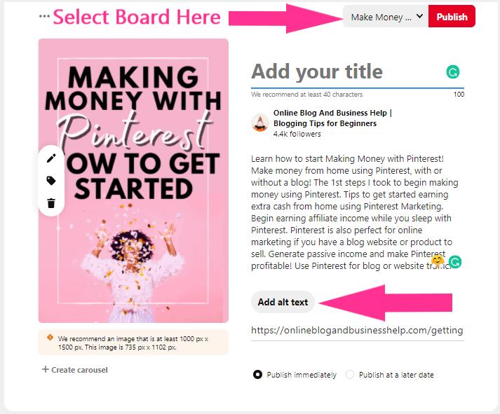 filling in pinterest pin information