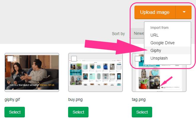 Mailerlite GIF integration menu