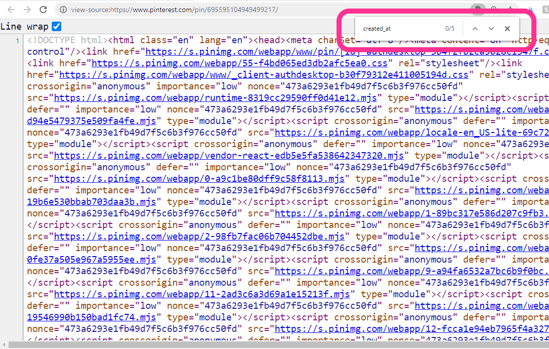 how to find the date a pin was created - menu